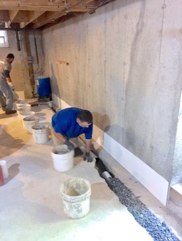 wet basement before